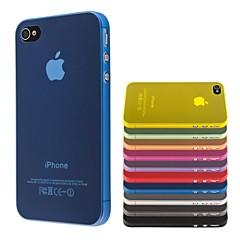 Tynd Pc Transparent Blød Tilpasset Dække For Iphone 4 / 4S (Assorterede Farver)