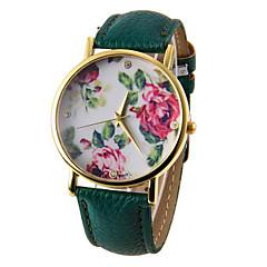preiswerte Tolle Angebote auf Uhren-Damen damas Armbanduhr Quartz Armbanduhren für den Alltag PU Band Analog Blume Modisch Schwarz / Weiß / Blau - Rot Grün Blau