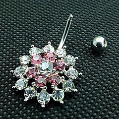 lureme®316l sebészeti titán-acél kristály virág alakú köldök gyűrű