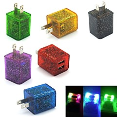 Glitter LED Flashing Light Dual USB 2-Port Home Travel Wall Charging Charger Adapter for Samsung/iPhone US