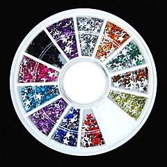 600pcs 12colours yıldız şekli akrilik taslar teker tırnak sanat dekorasyon