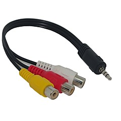 3,5 mm-es jack-dugóval 3 RCA adapter AV kábel Audio Video 20cm