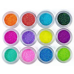 12 kleuren glitter folie poeder nail art decoraties (willekeurige kleur)
