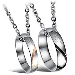 Недорогие Ожерелья-Ожерелья с подвесками  -  Титановая сталь Сердце Мода Серебряный Ожерелье Назначение Свадьба, Для вечеринок, Повседневные