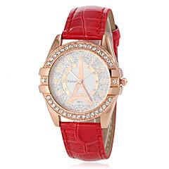 preiswerte Damenuhren-Damen Armbanduhr Japanisch Imitation Diamant PU Band Analog Freizeit Eiffelturm Schwarz / Weiß / Blau - Braun Rot Blau