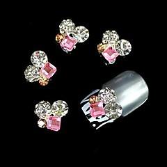 10 buc cristal pătrat roz stras rotund 3d DIY accesorii din aliaj de unghii arta decorativa