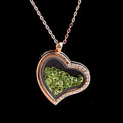 ötvözet szív mágneses pohár lebegő zöld strasszos élő medalion medál