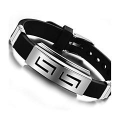 preiswerte Armbänder-Herrn ID Armband - Silikon, Titanstahl Personalisiert, Einzigartiges Design Armbänder Schmuck Schwarz Für Alltag Normal