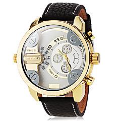 お買い得  メンズ腕時計-男性用 ファッションウォッチ ドレスウォッチ 軍用腕時計 クォーツ 2タイムゾーン ホット販売 クール PU バンド ハンズ ブラック - ホワイト ブラック ブラックとホワイト 2年 電池寿命 / SOXEY SR626SW