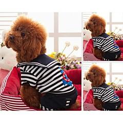 お買い得  犬用ウェア&アクセサリー-犬 Tシャツ 犬用ウェア 縞柄 ブラック レッド コットン 混合材 コスチューム ペット用