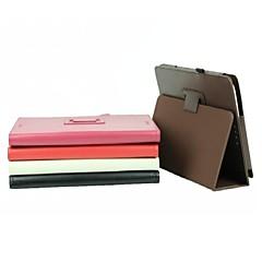お買い得  タブレット用ケース-ケースasus t100taのための固体の硬いpuの革を立てる防水フルボディの場合とケースフルケースの場合