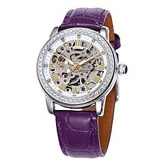お買い得  メンズ腕時計-SHENHUA 女性用 ファッションウォッチ 自動巻き 透かし加工 レザー バンド ハンズ ぜいたく 光沢タイプ ブラック / 白 / レッド - ピンク ブラック ブラック / ホワイト