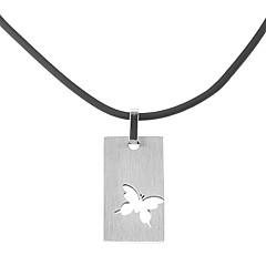 Недорогие Ожерелья-Нержавеющая сталь Кожа Ожерелья с подвесками  -  Серебряный Ожерелье Назначение Для вечеринок Повседневные