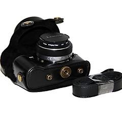 お買い得  ケース、バッグ & ストラップ-PANASONIC LUMIXのgf6のx 14-42用のショルダーストラップ付きdengpin®革保護カメラケースバッグカバー&14& 20ミリメートルレンズ