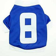 billige Hundetøj og tilbehør-Kat Hund T-shirt Trøje Hundetøj Bogstav & Nummer Blå Terylene Kostume For kæledyr Herre Dame Afslappet/Hverdag Sport