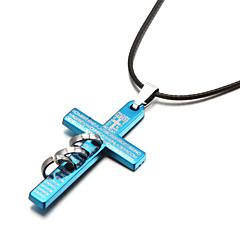 Недорогие Ожерелья-Ожерелье Ожерелья с подвесками Бижутерия Для вечеринок Спорт Крестообразной формы Сплав Кожа Серебрянное покрытие Подарок Черный