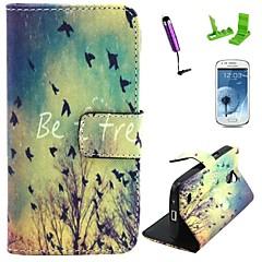 ser patrón de caso gratis cuero de la PU con el protector de pantalla y el stylus para mini i9190 Samsung Galaxy S4