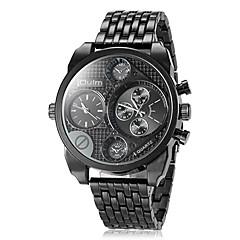 preiswerte Tolle Angebote auf Uhren-Oulm Herrn Quartz Japanischer Quartz Armbanduhr Militäruhr Duale Zeitzonen Edelstahl Band Luxus Schwarz Braun Bronze