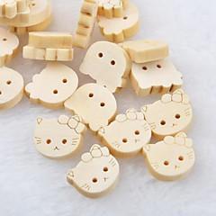 kissa pää leikekirja scraft ompelu DIY puinen painikkeet (10 kpl)