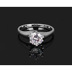 お買い得  指輪-Hot Fashion Silver Platinum Plated Wedding Rings with Shiny Zircon Stone