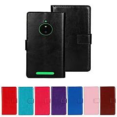 Недорогие Чехлы и кейсы для Nokia-Кейс для Назначение Nokia / Nokia Lumia 830 Кейс для Nokia Кошелек / Бумажник для карт / со стендом Чехол Однотонный Твердый Кожа PU для