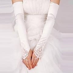 Недорогие Женские украшения-Кружева Сатин До плеча Перчатка Свадебные перчатки