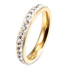 preiswerte Ringe-Damen Bandring Verlobungsring - Edelstahl, Diamantimitate Modisch 7 / 8 / 9 Golden Für Party Alltag Normal / Krystall