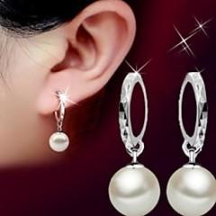 お買い得  イヤリング-女性用 フラワー 純銀製 人造真珠 ドロップイヤリング  -  ベージュ イヤリング 用途 結婚式 パーティー 日常