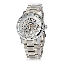 voordelige Roestvast staal-WINNER Heren Skeleton horloge mechanische horloges Handmatig opwindmechanisme Hol Gegraveerd Roestvrij staal Band ZilverWit Blauw Goud