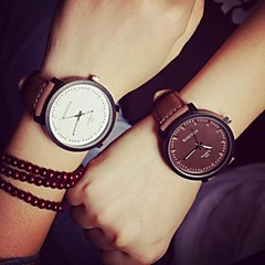 cheap Couple Watches-Couple's Quartz Wrist Watch Casual Watch Leather Band Casual / Fashion Black / Brown