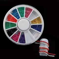 12colors zincir diy tırnak tekerlek set tırnak sanat dekorasyon