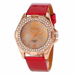 preiswerte Tolle Angebote auf Uhren-Damen Armbanduhr Quartz Schwarz / Rot / Braun Imitation Diamant Analog damas Charme Freizeit - Braun Rot Rosa