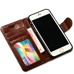 abordables Coques pour iPhone 6-Pour Coque iPhone 6 Coques iPhone 6 Plus Portefeuille Porte Carte Avec Support Clapet Coque Coque Intégrale Coque Couleur Pleine DurCuir