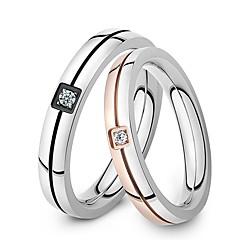olcso Gyűrűk-Férfi Női Páros gyűrűk Születési kövek Titanium Acél Ékszerek Esküvő Parti Napi Hétköznapi Sport