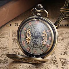 Męskie Zegarek kieszonkowy zegarek mechaniczny Mechaniczny, nakręcanie ręczne Grawerowane Stop Pasmo Postarzane Ekskluzywne Bronz