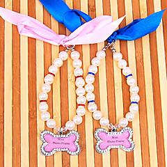 お買い得  犬用首輪/リード/ハーネス-犬 カラー 調整可能 / 引き込み式 ベル ラインストーン プラスチック ブルー ピンク