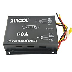 abordables Inversor Eléctrico-xincol® vehículo dc coche 24v de 60a 12v convertidor transformador de alimentación con ventilador dual-regulación negro