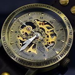 お買い得  大特価腕時計-男性用 スケルトン腕時計 自動巻き 透かし加工 レザー バンド ハンズ ブラック / ブラウン - ブラック Brown / ステンレス