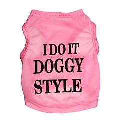 お買い得  犬用ウェア&アクセサリー-ネコ 犬 Tシャツ 犬用ウェア 文字&番号 ピンク テリレン コスチューム ペット用