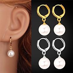 tanie Kolczyki-Kolczyki wiszące Perła Kamienie zodiakalne biżuteria kostiumowa Perłowy Imitacja pereł Powłoka platynowa Pozłacane Biżuteria Na Ślub
