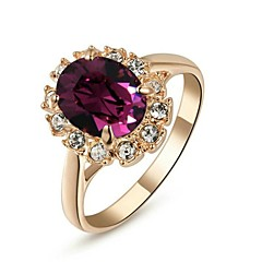 cheap Rings-Women's Simulated Statement Ring - Crystal, Gold Plated Ladies, Fashion Jewelry Purple For Wedding Party Daily Casual Masquerade Engagement Party 6 / 7 / 8 / 9 / Cubic Zirconia / Zircon
