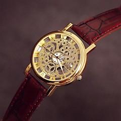 preiswerte Tolle Angebote auf Uhren-Damen Armbanduhr Transparentes Ziffernblatt Leder Band Charme / Freizeit Schwarz / Braun