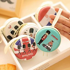 London Type Tin Round Change Purse(1 PCS Random Color)