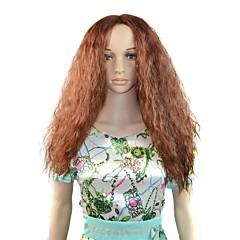Afro uzun kabarık saç sentetik Peruk kahverengi ısıya dayanıklı elyaf ucuz Cosplay parti Peruk saç