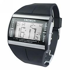 Αντρικά Ρολόι Καρπού Ψηφιακό ρολόι Ψηφιακό LCD Ημερολόγιο Χρονογράφος συναγερμού καουτσούκ Μπάντα Μαύρο Μαύρο