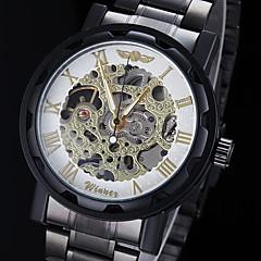 billige Mekaniske ure-WINNER Herre Mekanisk Ur Armbåndsur Mekanisk Selv-optræk Hul Indgravering Rustfrit stål Bånd Vedhæng Sort