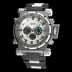 Heren Militair horloge Kwarts Japanse quartz LCD Rekenliniaal Kalender Chronograaf Waterbestendig Dubbele tijdzones alarm Rubber Band