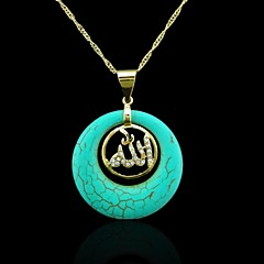 18K Real Gold Plated Allah Muslim Turquoise Pendant