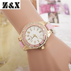 cheap Watch Deals-Women's Quartz Wrist Watch Imitation Diamond Alloy Band Charm Dress Watch Fashion Black White Blue Red Brown Gold Pink