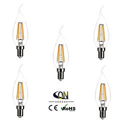 お買い得  LED 電球-ONDENN 5個 2800-3200 lm E14 フィラメントタイプLED電球 CA35 4 LEDの COB 調光可能 温白色 AC 220-240V